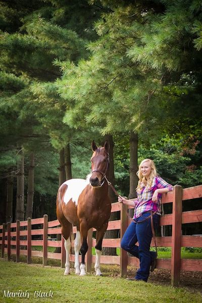 Maddie's senior picture with her, now grown, nurse mare foal from Last Chance Corral.