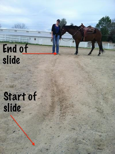 photo of slide tracks, beginning and end, with horse and rider