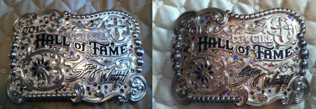 Silver belt buckle before and after egg