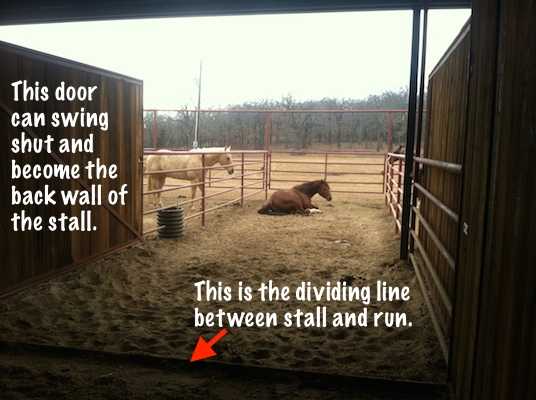 horse stall with attached run, option to shut the wall and turn into a stall