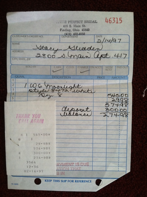 a receipt for westfall s wedding gown showing that