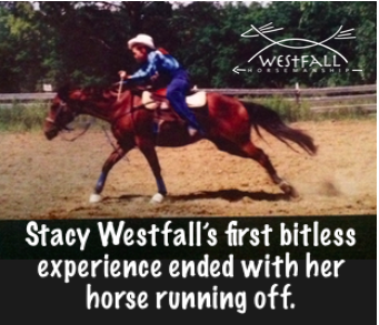 Teenaged Stacy Westfall and the horse that ran away with her when ridden in a halter. Stacy decided to focus on barrel racing instead.