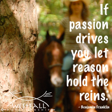 If passion drives you, let reason hold the reins. Benjamin Franklin