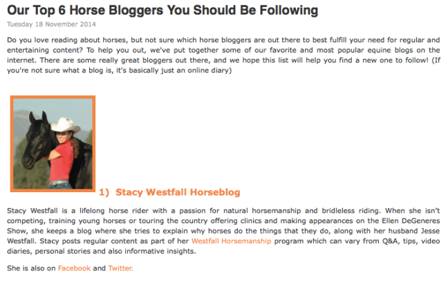 Stacy Westfall #1 Horse Blogger?