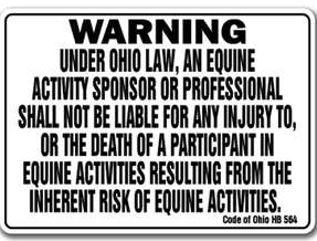 Ohio equine law sign