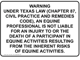 Texas equine law sign