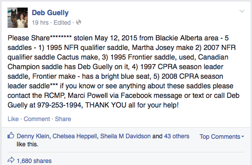 Have you seen these stolen saddles?